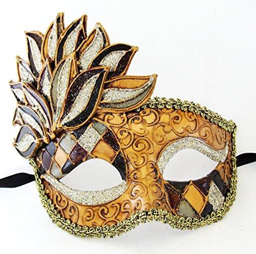 Cascade Harlequin Blue Halloween Mask Mardi Gras Venetian Costume ()