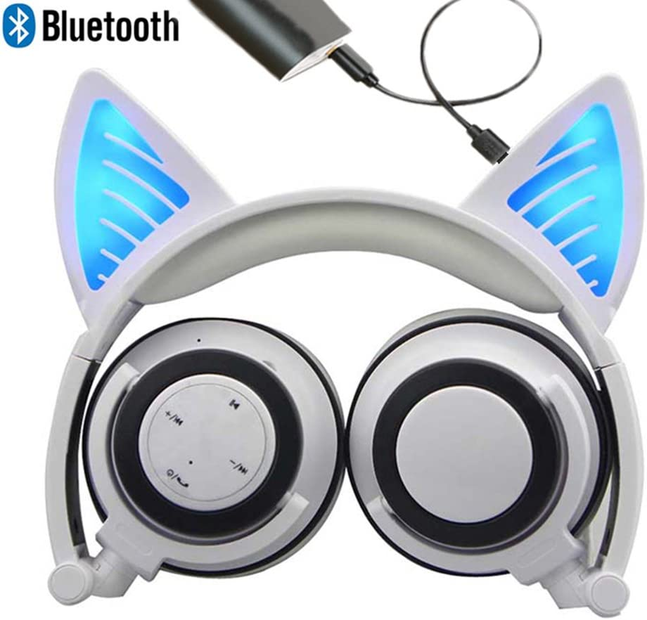 Bluetooth MIC Chargeable Wireless Hearsets Cat Ear Foldable Adjustable Flash Blue Light Headphones for iPhone 7/10S/iPad,Android Mobile Phone,MacBook(White)