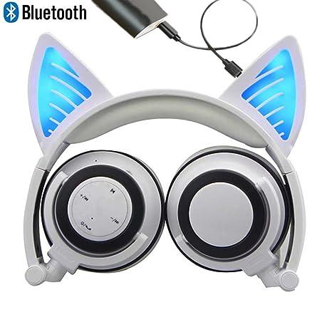 Bluetooth MIC auriculares inalámbricos recargables auriculares de gato plegable ajustable Flash auriculares de luz azul para