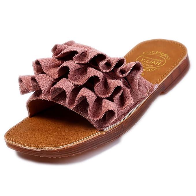 40c13ef7a19a Amazon.com  YIBLBOX Toddler Baby Girls Ruffles Slippers Flat Summer Beach  Shoes Flip Flops Sandals  Clothing