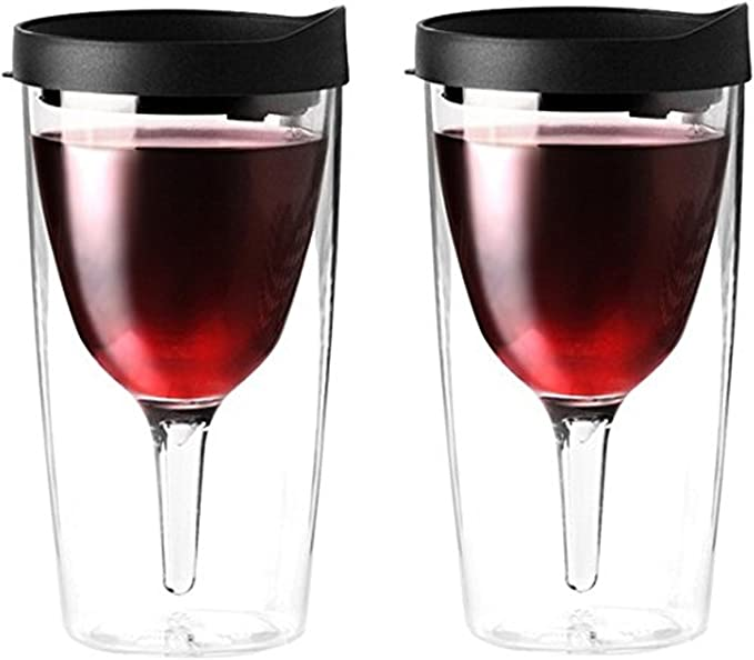 Vino2Go Acrylic Tumbler with Black Lids