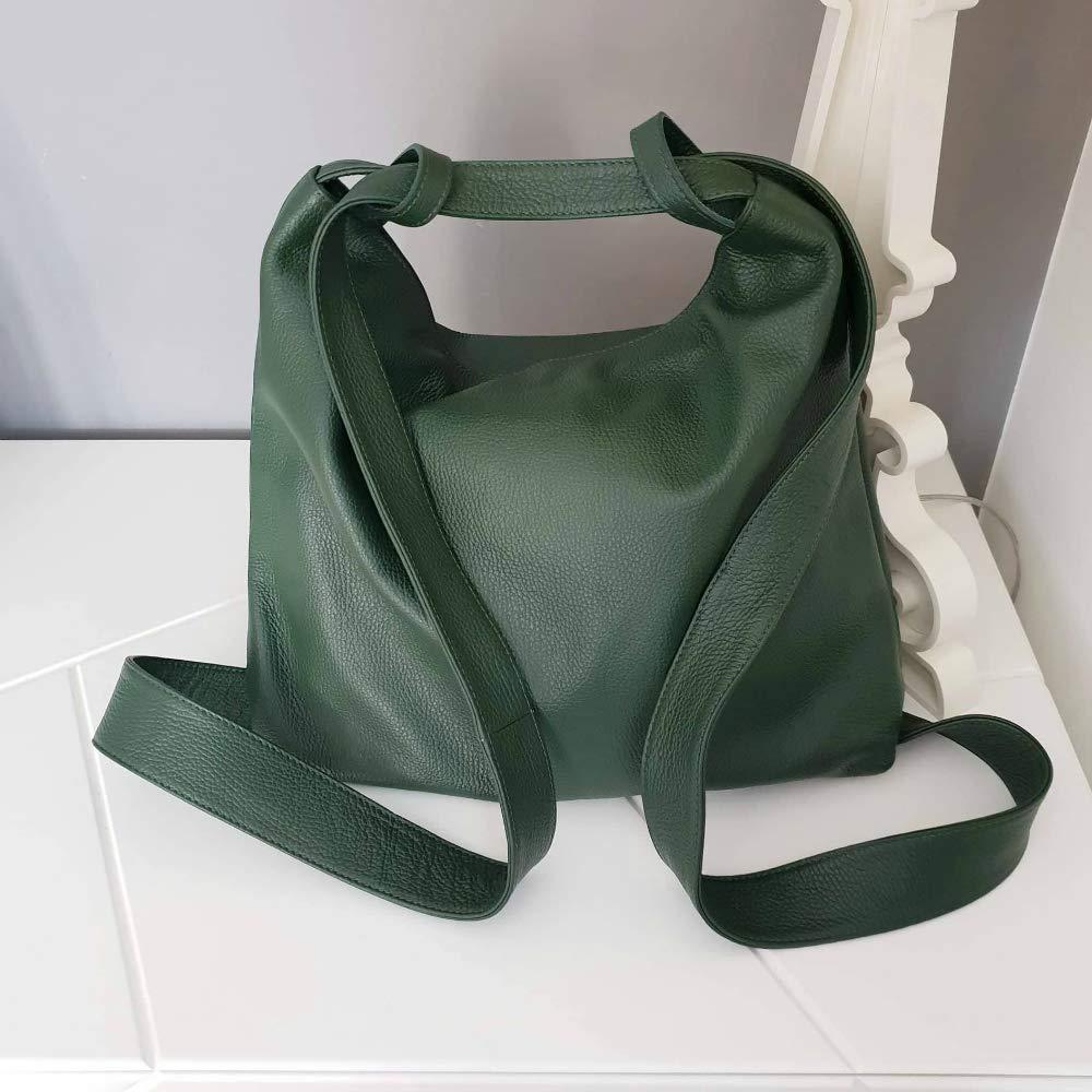 Borsa e zaino in pelle artigianale convertibile colore verde