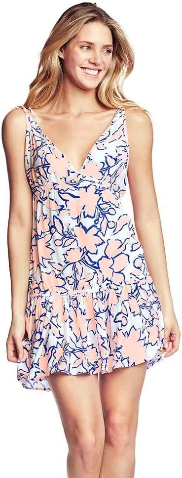 فستان ماجي النسائي بياقة على شكل V مع حافة مكشكشة