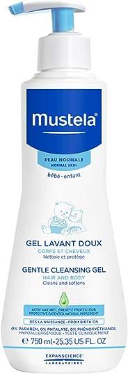 Sabonete Líquido Hipoalergénico Gel Lavante Corpo e Cabelo, Mustela Bebê, Azul, Grande/750 ml