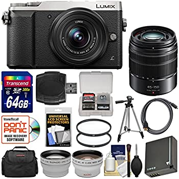Panasonic Lumix DMC-GX85 4K Wi-Fi Digital Camera & 12-32mm (Silver) with 45-150mm Lens + 64GB Card + Case + Battery + Tripod + Tele/Wide Lens Kit