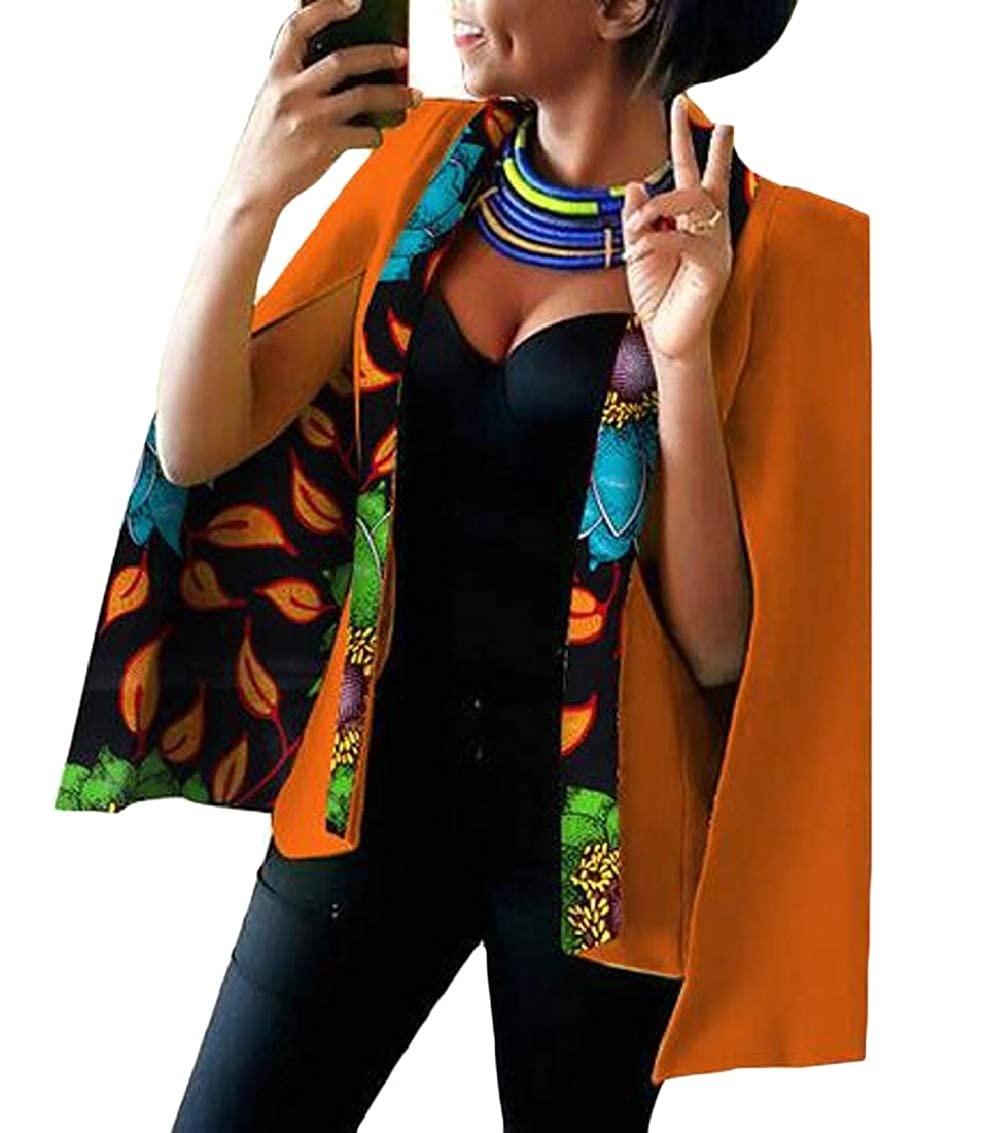 7 Women Casual African Print Shawl Split Sleeve Blazer Jacket Coats