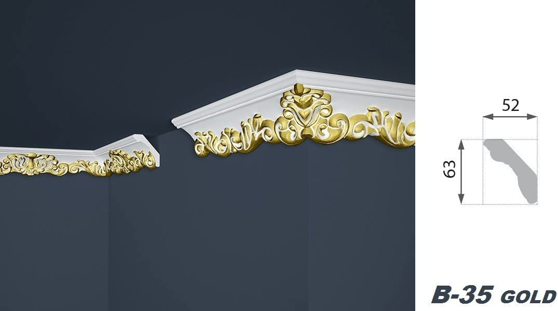 Musterst/ücke Polystyr/ène Moulure en Stuc Stable Marbet B or Profile B-6 Jusqu/à B-36 B-21 Gold 28x73mm
