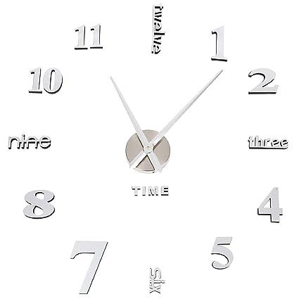 XJYA Reloj de Pared 3D con Números Adhesivos DIY Bricolaje Moderno Decoración Adorno para Hogar Habitación