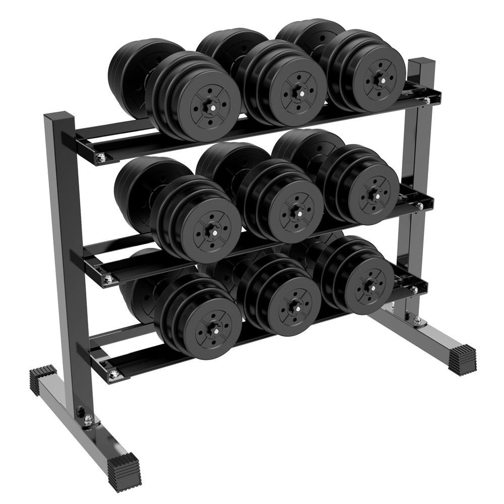 Topeakmart 3-Tier Dumbbell Barbell Weight Lifting Rack Stand Only Fitness Multilevel Horizontal Storage Mental Organizer for Home Gym