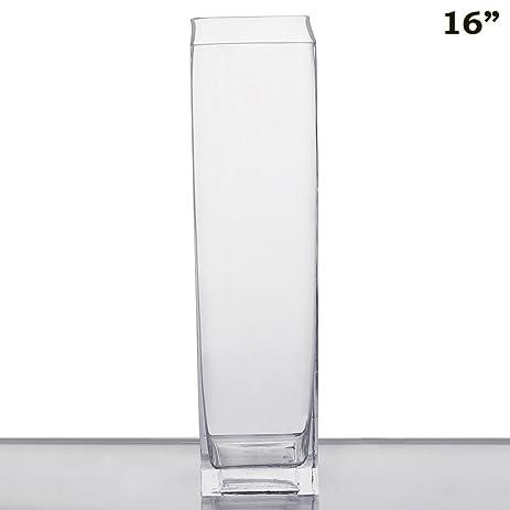 Amazon Efavormart 16 Tall Square Glass Centerpiece Vase 1pc