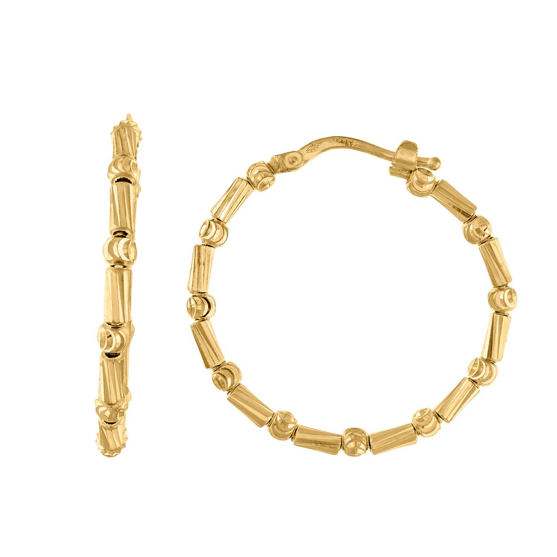 14kt Gold Womens Moon-cut Beads Bamboo Huggie Hoop 27.9mm x 2.8mm Snap Earrings