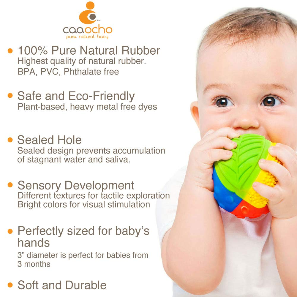 Bright Colors Pure Natural Rubber Sensory Ball Promotes Sensory Development All Natural Sensory Toy MEADOW 3 Hole Free Sensory Ball for Baby SEALED HOLE BPA Free Perfect Bouncer PVC Free