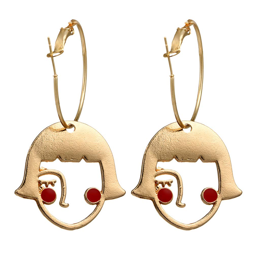 Creative Hollow Abstract Girl Face Alloy Hoop Earrings Woman Jewelry Charm Gift - Golden