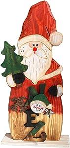 YUMBOR Wood Christmas Santa Claus Figurine Christmas & Winter Decor, Antique Table Top Mantle Centerpiece Christmas Party Decoration 14.5''H
