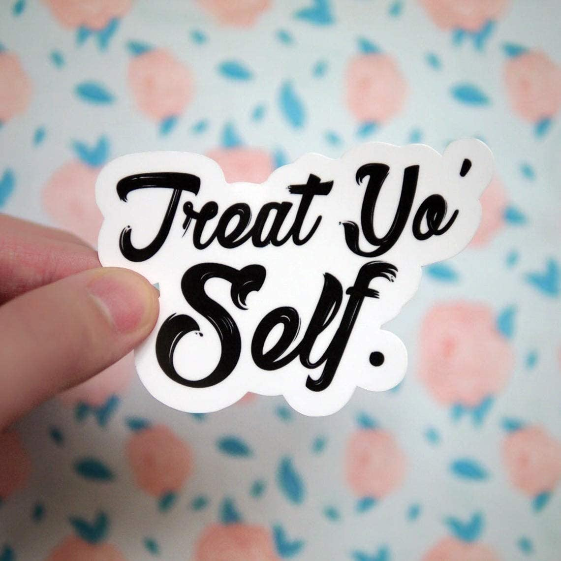 "Treat Yo Self, Laptop Sticker and Decal, Macbook Decal, Car Decal,Bottle Decal,Vinyl Decal with 4"", 3 Pack"