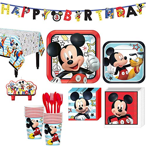 Mickey Mouse Birthday Party Kit, Includes Happy Birthday Banner and Birthday Candles, Serves 16, by Party City