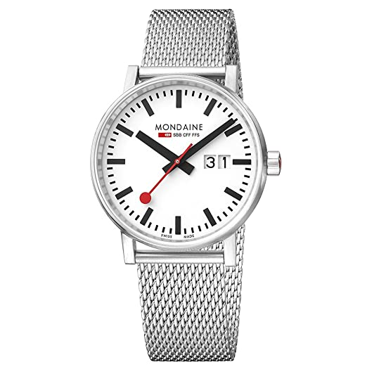 Mondaine evo2 40 mm sapphire Big Date Watch with St. Steel brushed Case white Dial and stainless steel mesh Strap MSE.40210.SM: Amazon.es: Relojes