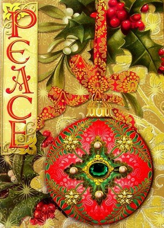 punch studio christmas greeting cards peace gold embellished dimensional ornament ribbon the