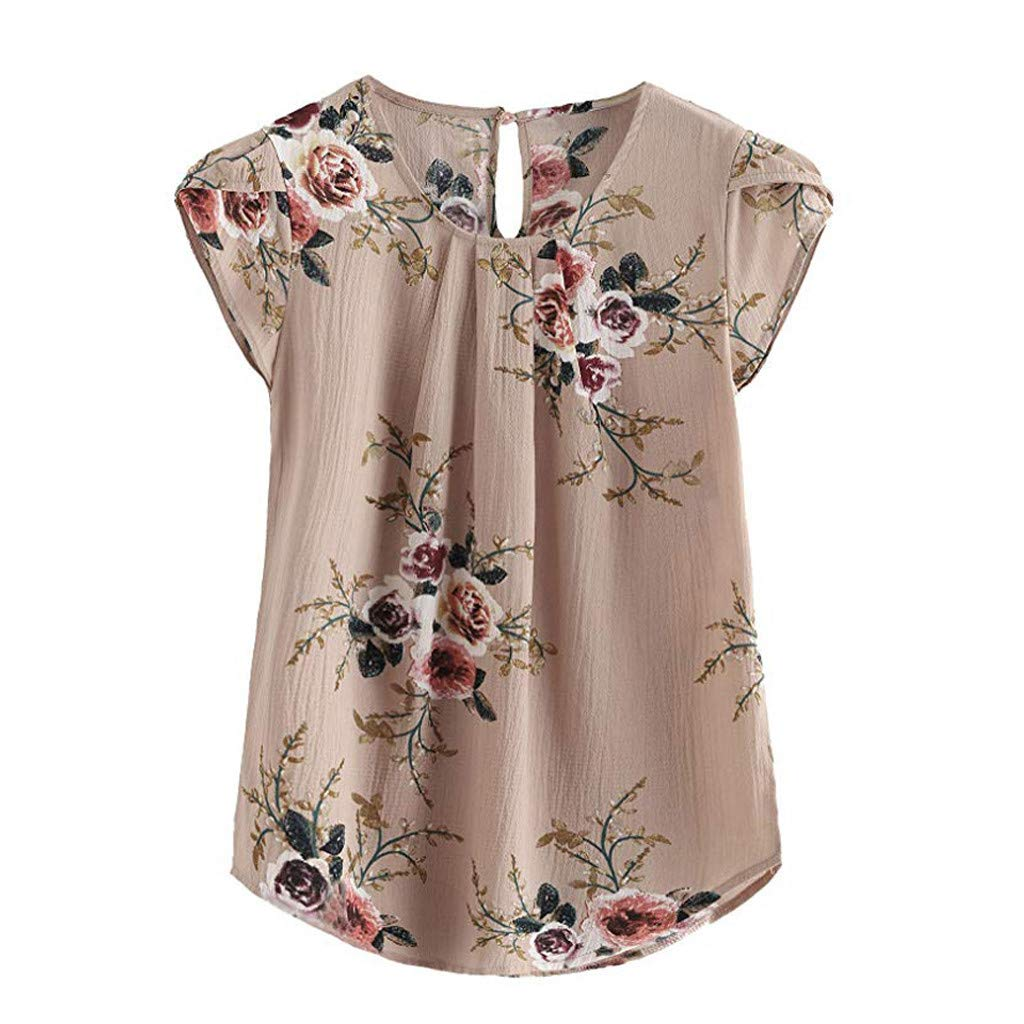 Short Sleeve Blouse Women Casual Tops Round Neck Basic Floral Pleated Shirt