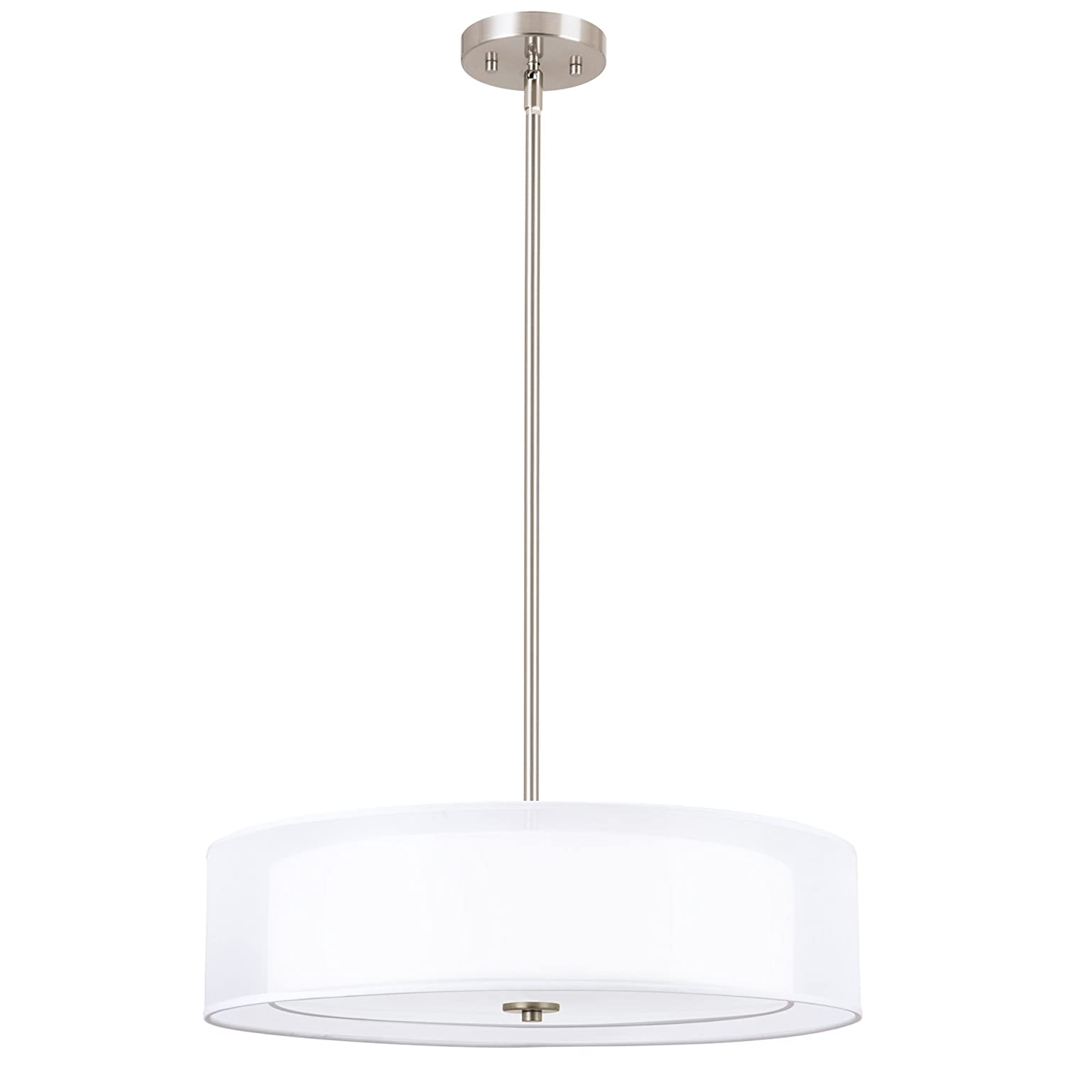 "Kira Home Lindos 20"" Modern 3-Light Double Drum Chandelier + Glass Diffuser, Stem-Hung with Adjustable Height, Brushed Nickel Finish"