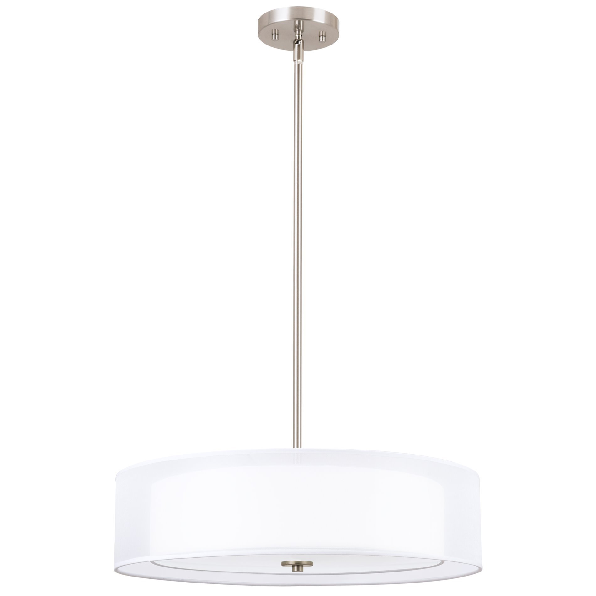 Kira Home Lindos 20'' Modern 3-Light Double Drum Chandelier + Glass Diffuser, Stem-Hung with Adjustable Height, Brushed Nickel Finish by Kira Home