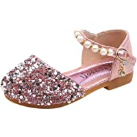 for Kids Girls Princess Shoes Pearl Bling Sequins Single Shoes Student Non-Slip Mary Janes Soft Sole Shallow Light Walking Shoes Sneakers