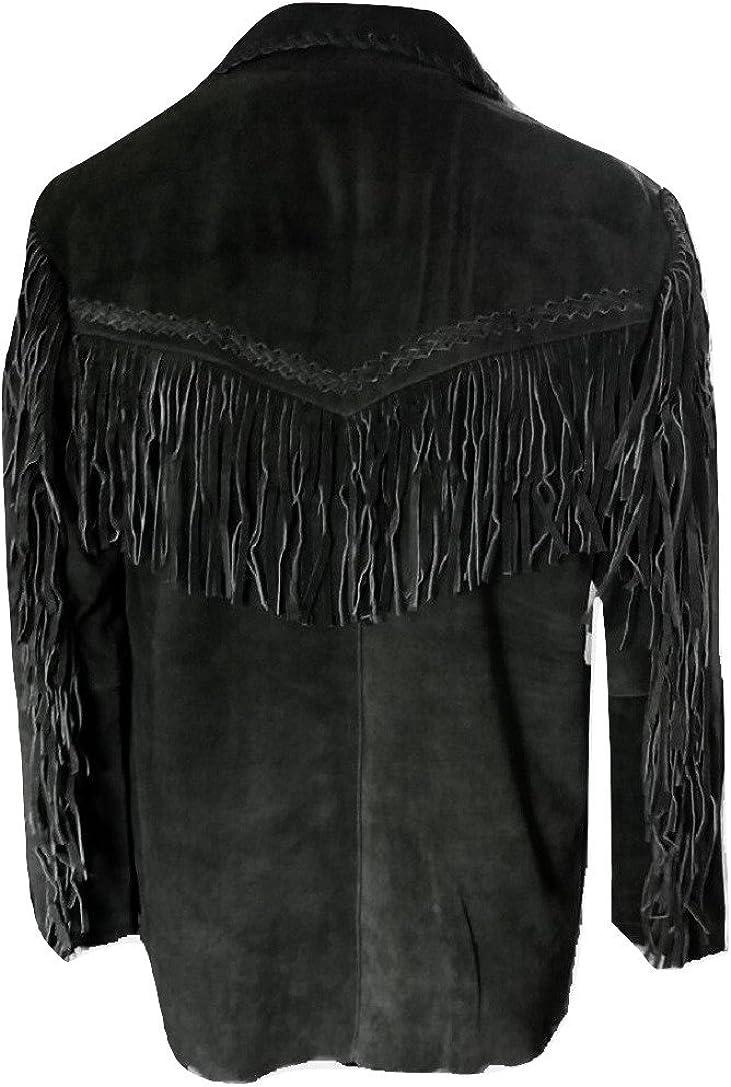 LEATHERAY Mens Fashion Western Eagle Fringe /& Beaded Jacket Suede Leather Black