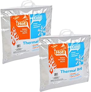 Insulated Resealable Jumbo Bag Set -- 2 Reusable Family Size Large Thermal Lunch Bags