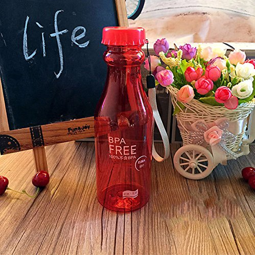 Red 550Ml Portable Cycling Bicycle Bike Sports Unbreakable Fruit Juice Water Bottle by Travel Mugs