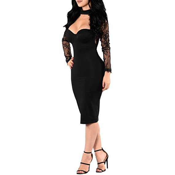 Synen Womens Floral Lace Mesh Long Sleeves Choker Neck Bodycon Party Cocktail Dress at Amazon Womens Clothing store: