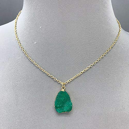 - Simple Gold Finished Green Color Teardrop Shaped Druzy Stone Pendant Necklace