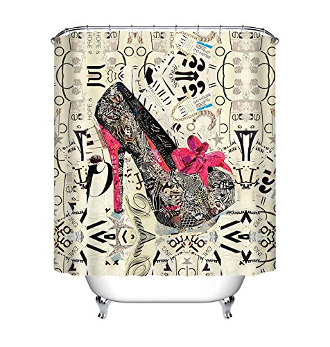 (LB Vintage High Heel Shoe Clip Art Shower Curtain for Shower Stall by, Fashion Chic Decor Curtain for Women, 70 x 70 Polyester Fabric Shower Curtain Waterproof )