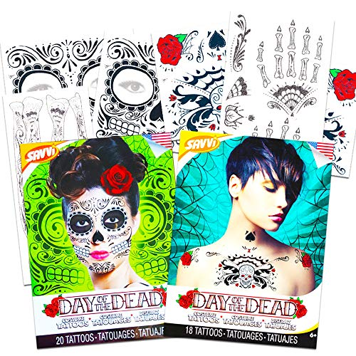 Day of The Dead Sugar Skull Temporary Tattoo Ultimate Whole Body Set - Face, Arms, Hands and Chest Tattoo Kits (Glitter Web Design)