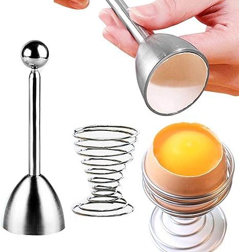 Cortador de Huevos de Acero Inoxidable Topper Galleta de Huevo para Huevo Duro Suave Kuuleyn Abridor de Huevos Acero Inoxidable