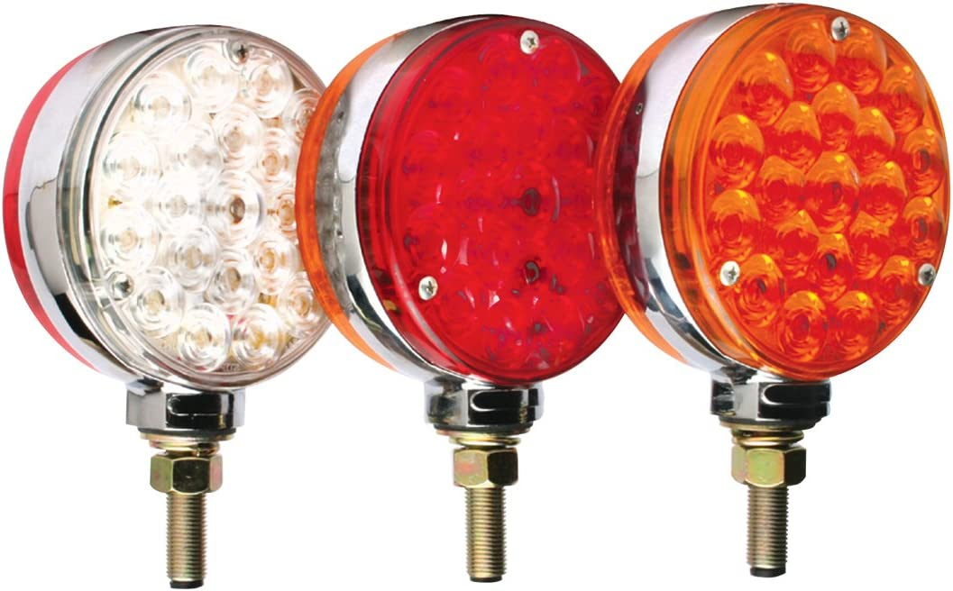 Lollipop Style 4 Round LED Pedestal Lights Red//Clear