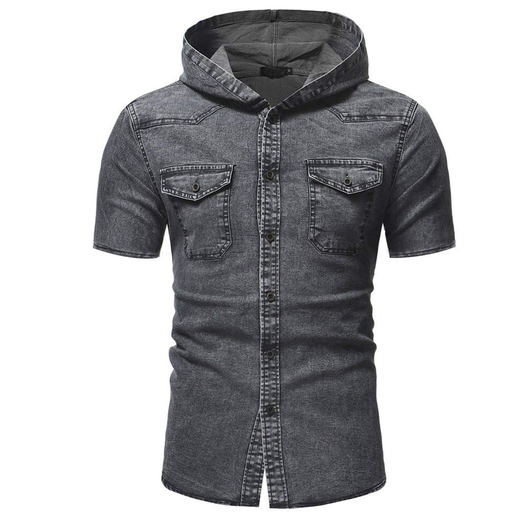 Hoodies for Men, F_Gotal Men's T-Shirts Short Sleeve Buttons Down Denim Jacket Slim Casual Blouse Tops with Pockets by F_Gotal Mens Shirt