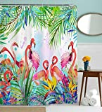 Pink Shower Curtain Flamingo Shower Curtain, Flamingos with Tropical Leaves and Flowers Pattern Waterproof and Anti Mildew Fabric Bathroom Shower Curtains, 72W by 72H, Pink Green