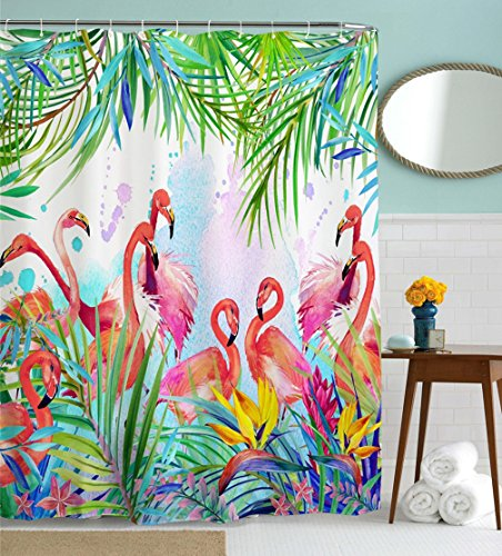 Pink Flamingo Accessories (Flamingo Shower Curtain, Flamingos with Tropical Leaves and Flowers Pattern Waterproof and Anti Mildew Fabric Bathroom Shower Curtains, 72W by 72H, Pink Green)