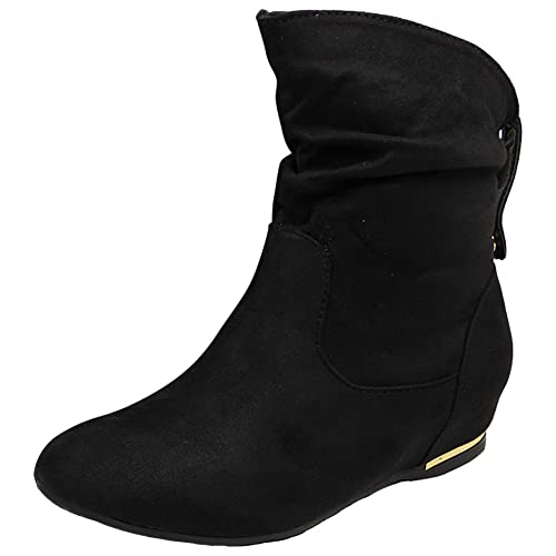 Loud Look New Womens Ladies Flat Faux Suede Slouch Low Heel Wedge Ankle Boots Shoes Size 3-8