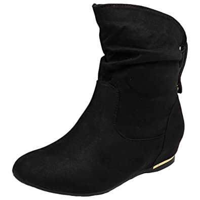 9922a2d49c15 Pull On Slouch Ankle Boots-Black Synthetic Suede-UK 4   EU 37 ...