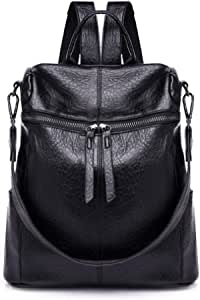 Women's Backpack Brief Style Preppy All Match Zipper Faddish Retro Bag Soft Leather Waterproof Anti-Theft Shoulder Bag