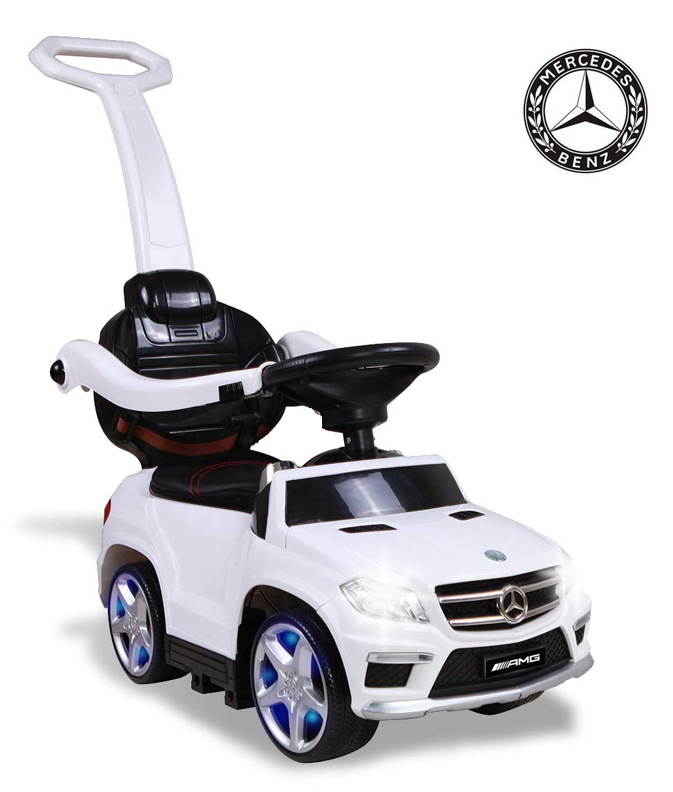 TAMCO Kids Ride On Car Mercedes Benz GL63 Push Car with PU Seat, Footrest, MP3 Player (White)