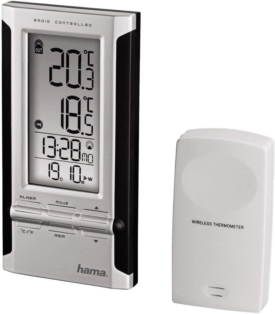Hama 104930 Wetterstation EWS 180 Funkuhr Wecker Außensensor Thermometer