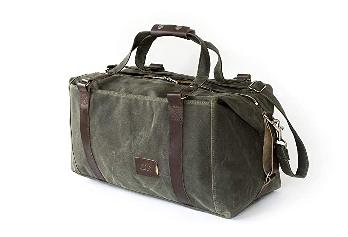 74fc1bdf8 Amazon.com: Waxed Canvas Weekender Duffle Bag: Personalized, Expandable,  Rugged, Travel, Olive Green - No. 495 (Made in the USA): Handmade