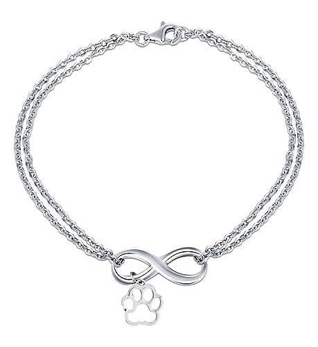 Pulsera - Amistad - Motivación - Colgante - Infinito - Pata - Animal - Perro - Gato - Hombre - Mujer - Unisex - Color plata: Amazon.es: Joyería