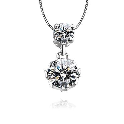 88bbb006968f Blisfille Colgante Plata Boda Colgantes Mujer Bisuteria Collar Mujer Plata  de Ley Collar de Diamante Redondo