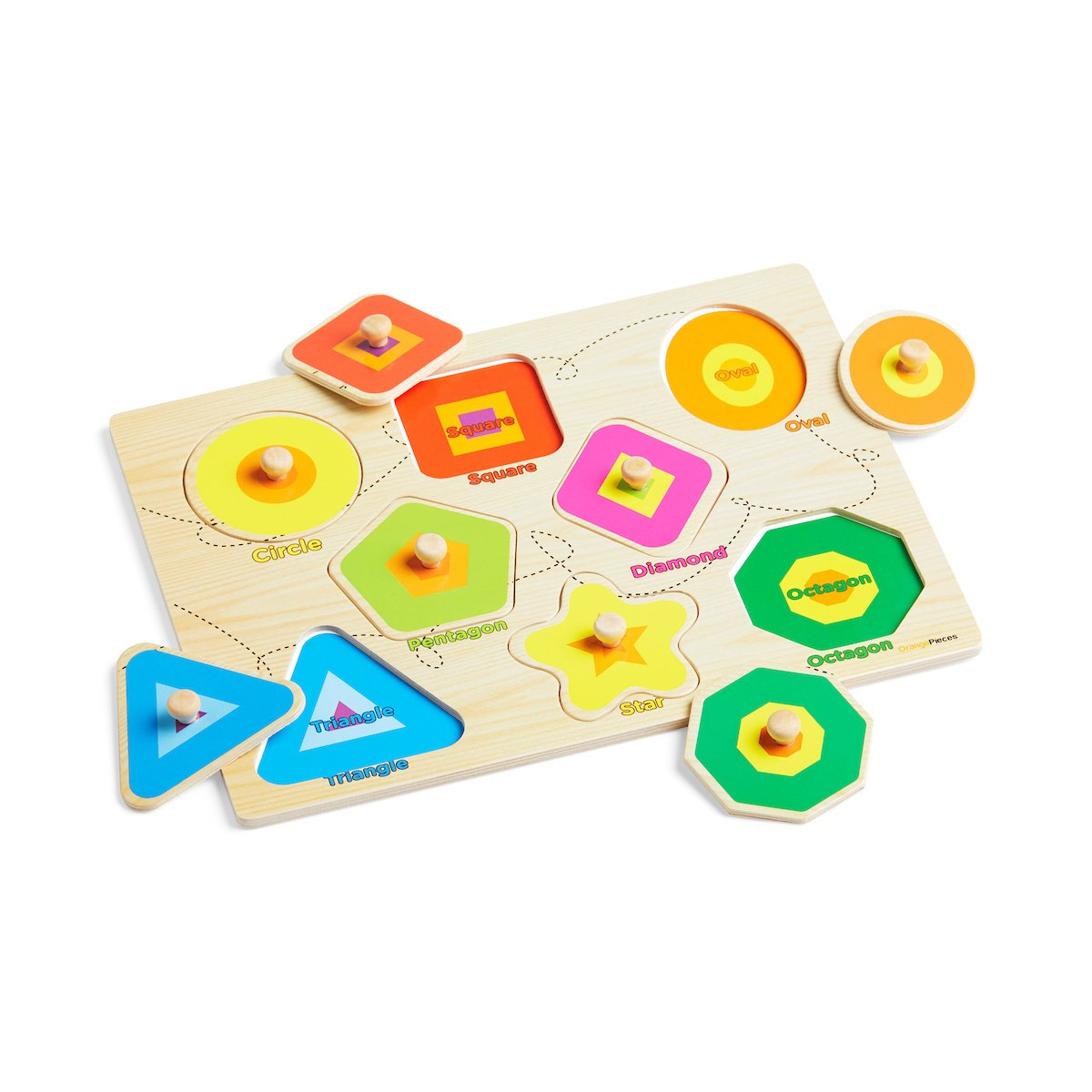 Wooden Peg Puzzle for toddlers - 3 Piece puzzle set for kids - Alphabet ABC, Numbers and Shapes Toy - Perfect pegged puzzles for kid learning letters, number, shape board puzzles for toddler ages 3+ by Orange Pieces (Image #8)