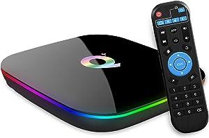 Android 9.0 TV Box, TUREWELL Allwinner H6 Quad Core 4GB RAM 64GB ROM Q Plus Android TV Box Support 3D 6K HD H.265 2.4GHz WiFi Ethernet HDMI DLNA USB 3.0 Smart TV Box