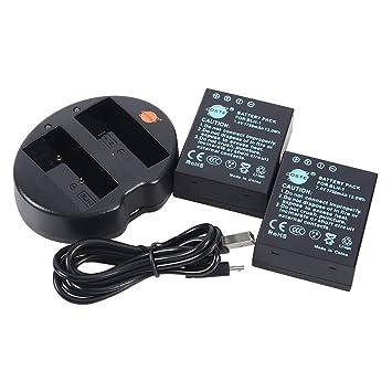 DSTE 2pcs Batería + Cargador de Batería USB para OLYMPUS BLH-1 BLH1 EM1 MARK II Digital SLR Cameras