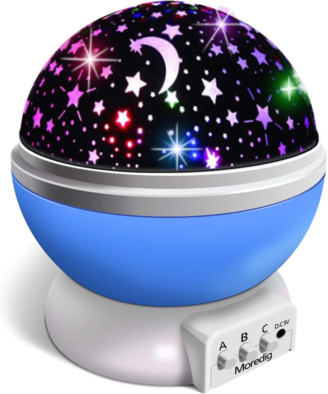 Moredig Proyector Estrellas, 360° Rotación Romántica Luz Estrellas y 8 Modos, Regalo para Niños y Bebés Cumpleaños, Día de los Reyes, Navidad, Halloween etc (Azul)